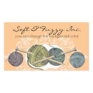 Custom color hand drawn knitting needles yarn card