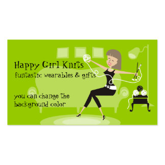 Custom color happy girl knitting needles yarn Double-Sided standard business cards (Pack of 100)