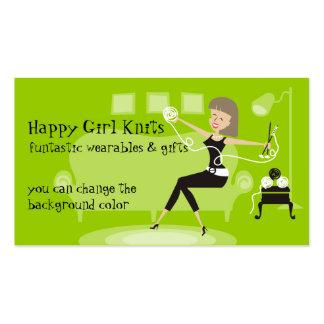 Custom color happy girl knitting needles yarn business card