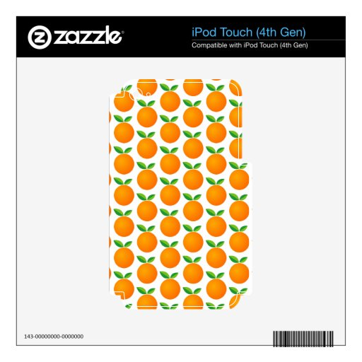 Custom color Ipod skin with orange fruit pattern