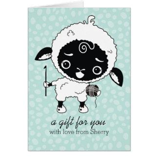 Custom color kawaii sheep lamb crochet hook yarn card