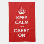 Custom Color Keep Calm and Carry On Kitchen Towel