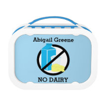 Custom Color Kids Dairy and Milk Allergy Alert Lunch Box