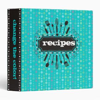 Custom color kitchen utensils blobs recipe binder