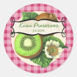 custom color kiwi fruit canning label classic round sticker