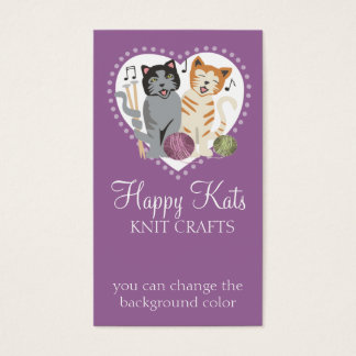 Custom color knitting needles cats business card