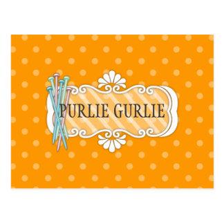 Custom color knitting needles polka dots biz card postcard