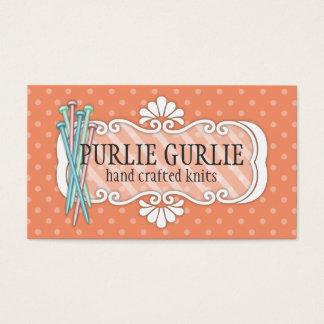 Custom color knitting needles polka dots knitter business card
