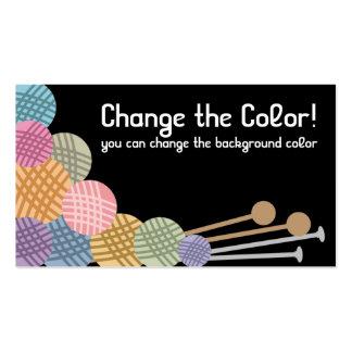 Custom color knitting needles yarn business card