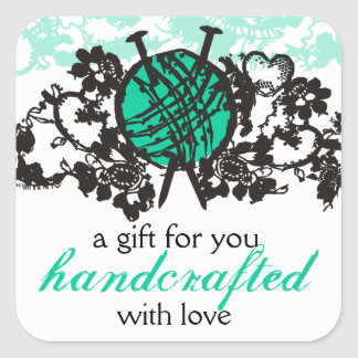 custom color knitting needles yarn goth lace card square sticker