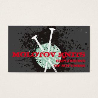 Custom color knitting needles yarn paint splatter business card