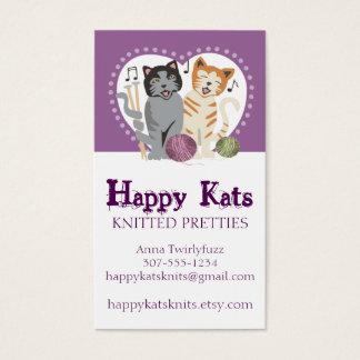 Custom color knitting needles yarn singing cats business card