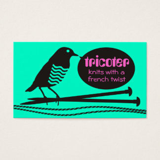 custom color knitting needles yarn talking bird business card