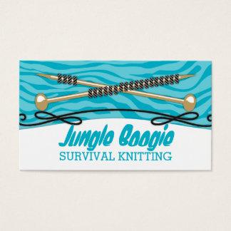 Custom color knitting needles yarn zebra print business card