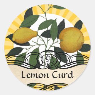 Custom color lemon branch fruit canning label classic round sticker