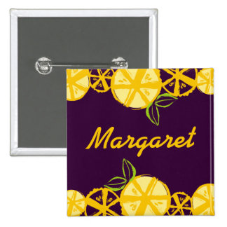 custom color lemon slice baking cooking name badge 2 inch square button