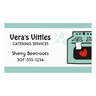 Custom color love oven stove chef catering bakery business card