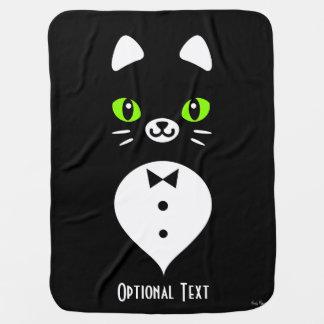 Custom Color Minimalist Tuxedo Cat Cartoon Baby Blanket