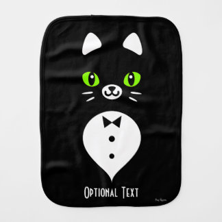 Custom Color Minimalist Tuxedo Cat Cartoon Burp Cloth