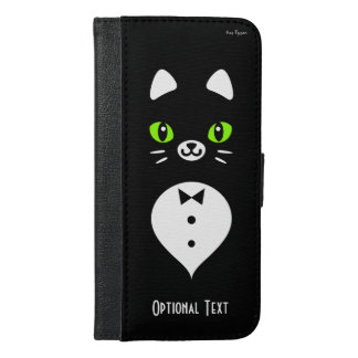 Custom Color Minimalist Tuxedo Cat Cartoon iPhone 6/6s Plus Wallet Case