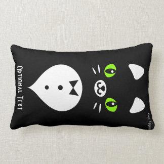 Custom Color Minimalist Tuxedo Cat Cartoon Lumbar Pillow