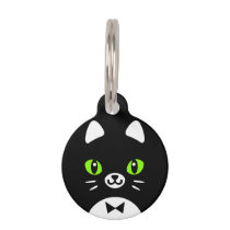 Custom Color Minimalist Tuxedo Cat Cartoon Pet ID Tag