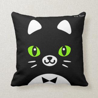 Custom Color Minimalist Tuxedo Cat Cartoon Throw Pillow