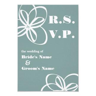 "Custom Color Modern Wedding RSVP With Flowers 3.5"" X 5"" Invitation Card"