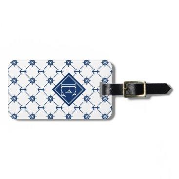 Custom color & monogram, nautical diamond pattern: bag tag