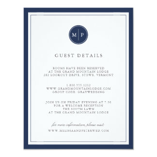 Custom Color Monogram Wedding Details Card