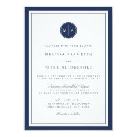 Custom Color Monogram Wedding Invitation