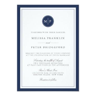 RedwoodAndVine Custom Color Monogram Wedding Invitation