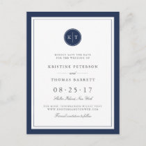 Custom Color Monogram Wedding Save the Date Announcement Postcard