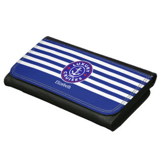 Custom color, nautical navy blue stripes pattern, leather wallet