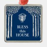 Custom Color Nouveau Angel Bless this House Square Metal Christmas Ornament
