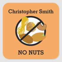 Custom Color Nut Allergy Personalized Kids Square Sticker