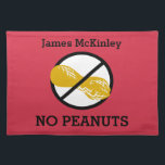 """Custom Color Nut Free Peanut Allergy Kids Placemat<br><div class=""""desc"""">Custom Color Nut Free Peanut Allergy Kids Cloth Placemat. Text states NO PEANUTS. Peanut symbol crossed out with a black line. Great for daycare, babysitters, preschool or anywhere to create a safe area for your peanut free child&#39;s lunch or snack. Customize to change red background to any other color. www.lilallergyadvocates.com...</div>"""