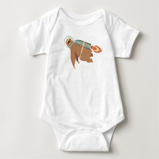 Custom color outer space sloth rocket jet pack tshirt