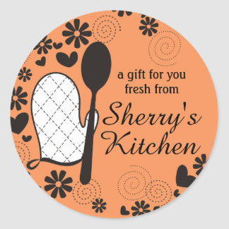 Custom color oven mitt spoon cooking bakery label