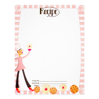 Custom color pastry chef cookie recipe letterhead