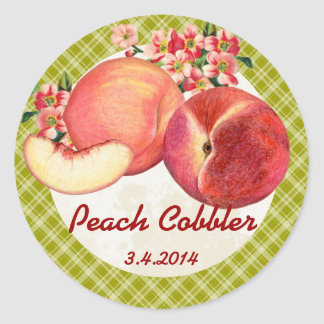 Custom color peaches fruit canning label classic round sticker