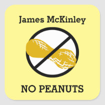 Custom Color Peanut Allergy Personalized Kids Square Sticker