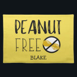 """Custom Color Peanut Free Peanut Allergy Kids Cloth Placemat<br><div class=""""desc"""">Custom Color Nut Free Peanut Allergy Kids Cloth Placemat. Large bold no peanuts symbol and text reading PEANUT FREE. Great for daycare,  babysitters,  preschool or anywhere to create a safe area for your peanut free child&#39;s lunch or snack. Customize to change yellow background to any other color. www.lilallergyadvocates.com</div>"""