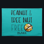 """Custom Color Peanut Tree Nut Free Allergy Kids Placemat<br><div class=""""desc"""">Custom Color Peanut Tree Nut Free Allergy Kids Cloth Placemat. Large bold no peanuts or tree nuts symbol and text reading PEANUT &amp; TREE NUT FREE. Great for daycare, babysitters, preschool or anywhere to create a safe area for your peanut and tree nut free child&#39;s lunch or snack. Customize to...</div>"""