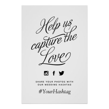 Wedding Themed Custom Color Personalized Wedding Hashtag Sign