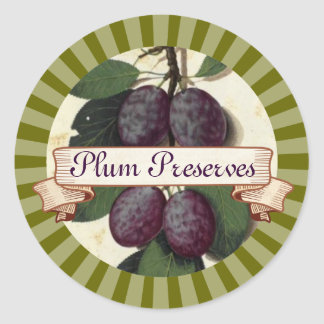 custom color plum fruit tree canning label classic round sticker