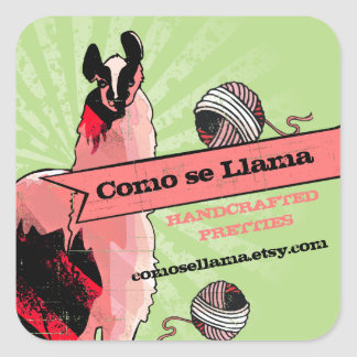 Custom color pop art llama yarn knitting crochet square sticker