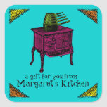 Custom color pop art vintage stove gift tag label stickers