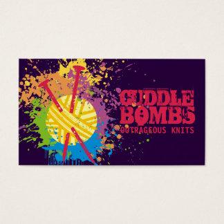 Custom color rainbow knitting needles explosion business card