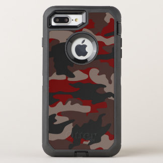 Custom Color Red Camo Camouflage Pattern Robust OtterBox Defender iPhone 7 Plus Case